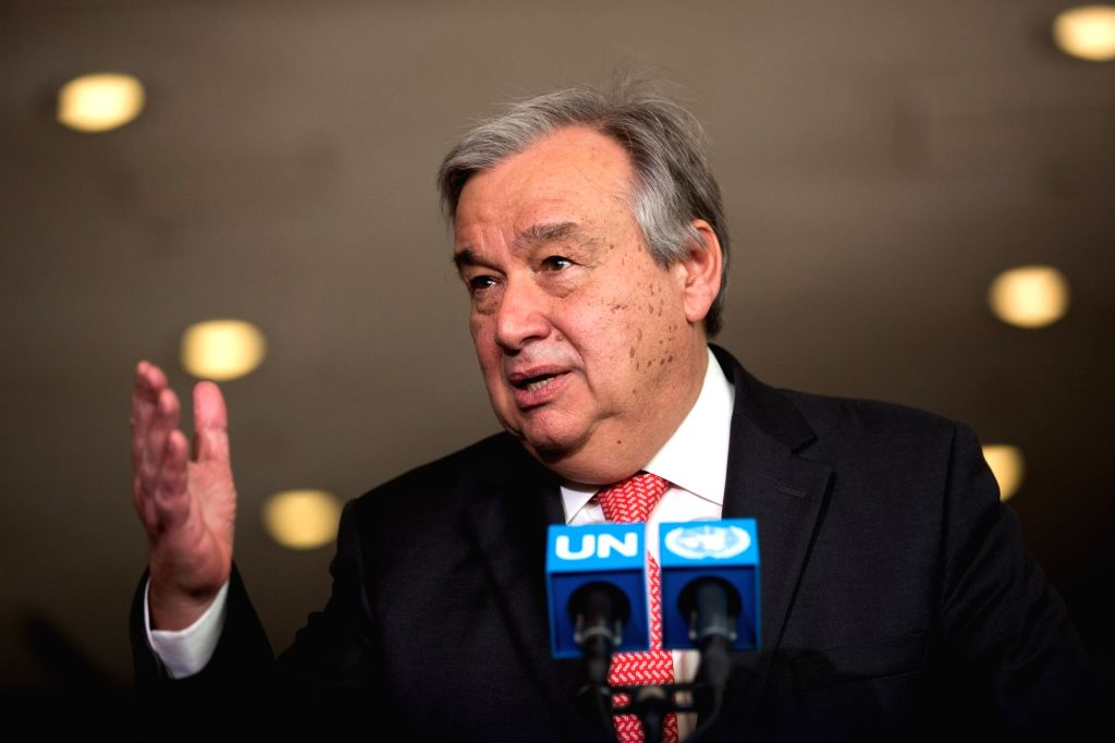 UNITED NATIONS, Oct. 5, 2016 - File photo taken on April 12, 2016 shows Antonio Guterres of Portugal at the United Nations headquarters in New York, the United States. Former Portuguese prime ...