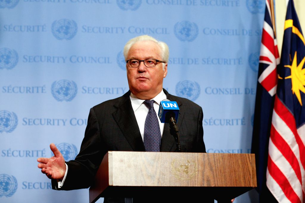 UNITED NATIONS, Oct. 6, 2016 - Vitaly Churkin, Russian Permanent Representative to the United Nations, speaks to journalist on Security Council's decision to recommend Antonio Guterres to be the next ...