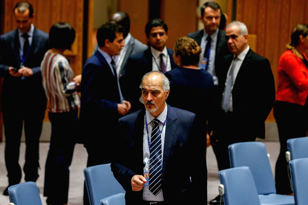 UNITED NATIONS, Oct. 8, 2016 - Bashar Ja'afari(front), Syria's Permanent Representative to the United Nations, is pictured prior to a Security Council meeting on Syria at the United Nations ...