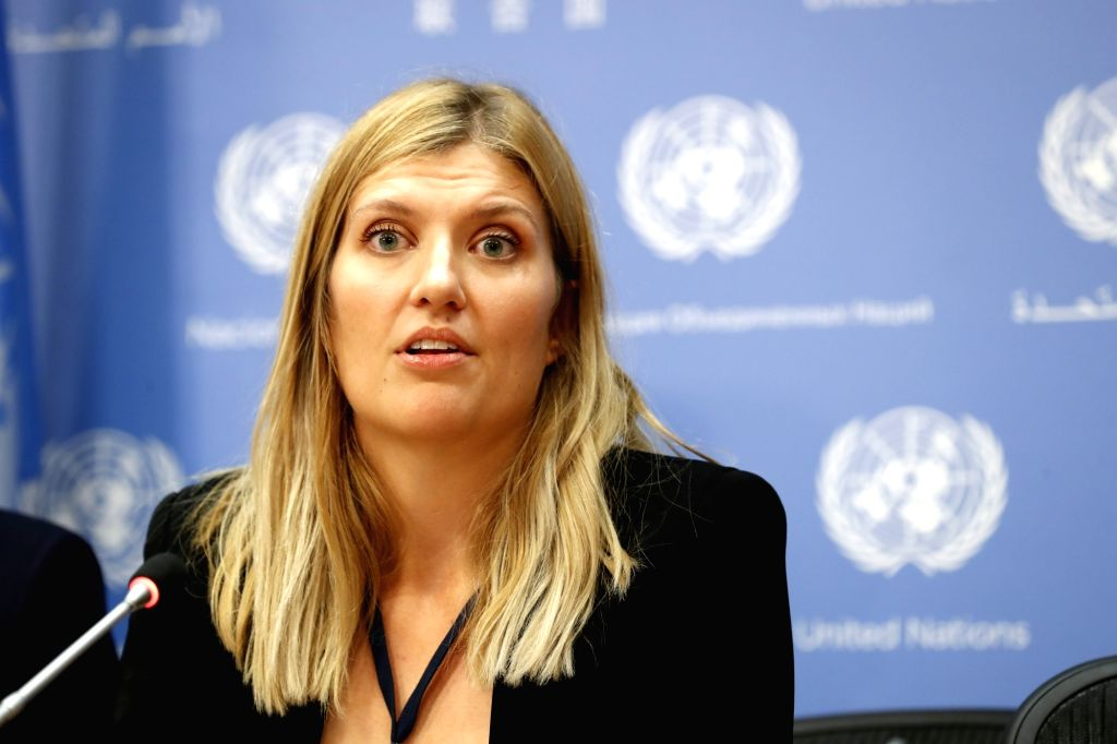 UNITED NATIONS, Oct. 9, 2017 - Beatrice Fihn, Executive Director of the International Campaign to Abolish Nuclear Weapons (ICAN), speaks during a press conference at the UN headquarters in New York, ...