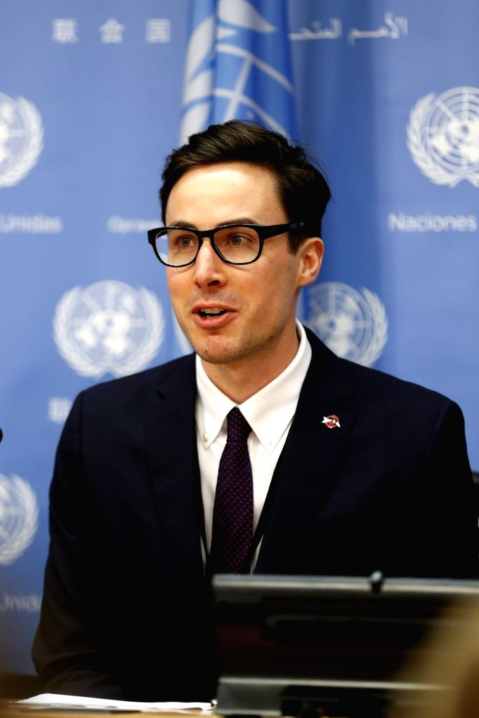 UNITED NATIONS, Oct. 9, 2017 - Tim Wright, Asia-Pacific Director of the International Campaign to Abolish Nuclear Weapons (ICAN), speaks during a press conference at the UN headquarters in New York, ...