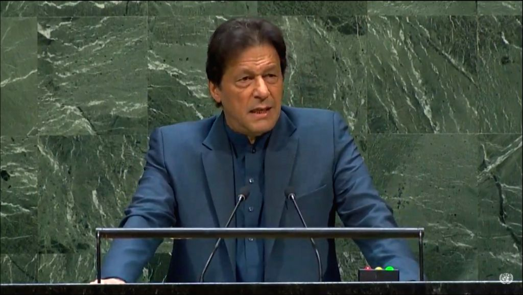 United Nations: Pakistan Prime Minister Imran Khan addresses at the 74th United Nations General Assembly (UNGA), at United Nations on Sep 27, 2019. - Imran Khan