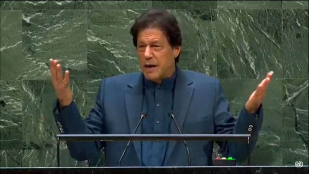 United Nations: Pakistan Prime Minister Imran Khan addresses at the 74th United Nations General Assembly (UNGA), at United Nations on Sep 27, 2019. (Photo: IANS) - Imran Khan