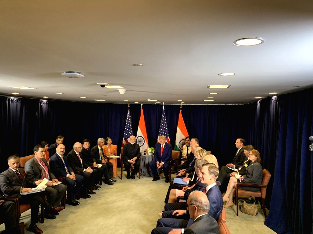 United Nations: Prime Minister Narendra Modi and US President Donald Trump during a meeting on the sidelines of the UNGA74 at United Nations on Sep 24, 2019. - Narendra Modi
