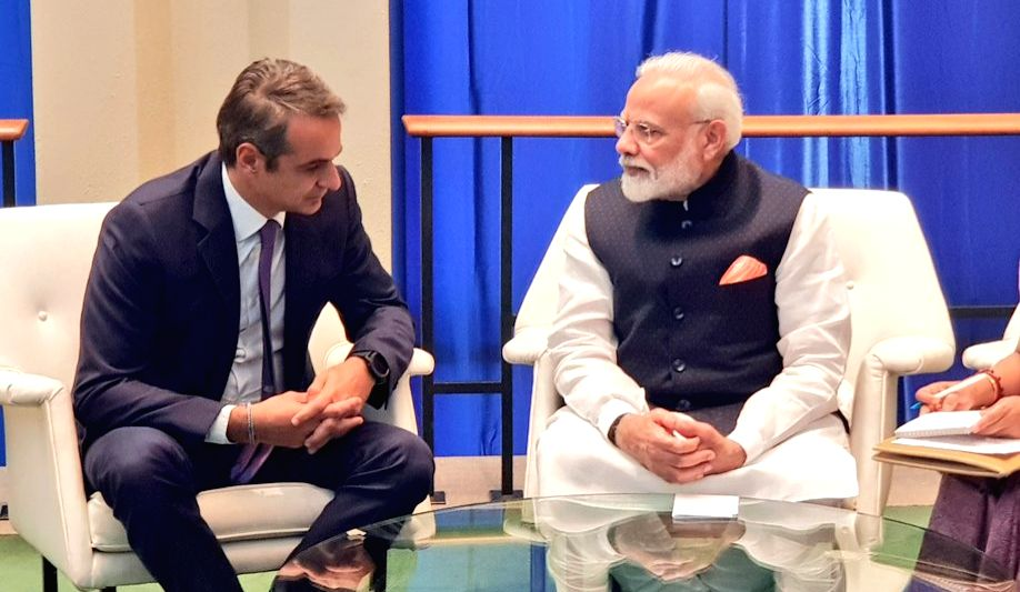 United Nations: Prime Minsiter Narendra Modi during a meeting with Greek Prime Minister Kyriakos Mitsotakis on the sidelines of UNGA 74 at United Nations on Sep 27, 2019. - Kyriakos Mitsotakis and Minsiter Narendra Modi