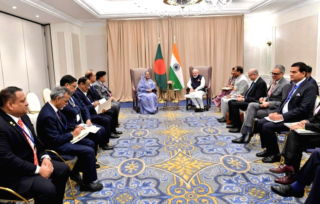 United Nations: Prime Minsiter Narendra Modi meets Prime Minister Sheikh Hasina on the sidelines of UNGA 74 at United Nations on Sep 27, 2019. - Sheikh Hasina and Minsiter Narendra Modi