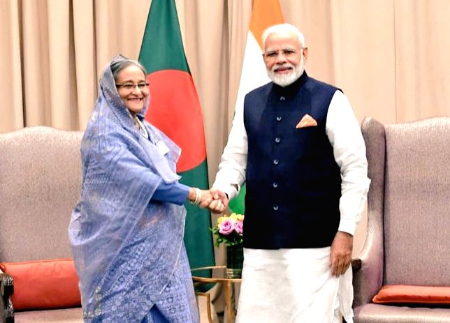 United Nations: Prime Minsiter Narendra Modi meets Prime Minister Sheikh Hasina on the sidelines of UNGA 74 at United Nations on Sep 27, 2019. (Photo: IANS/MEA) - Sheikh Hasina and Minsiter Narendra Modi