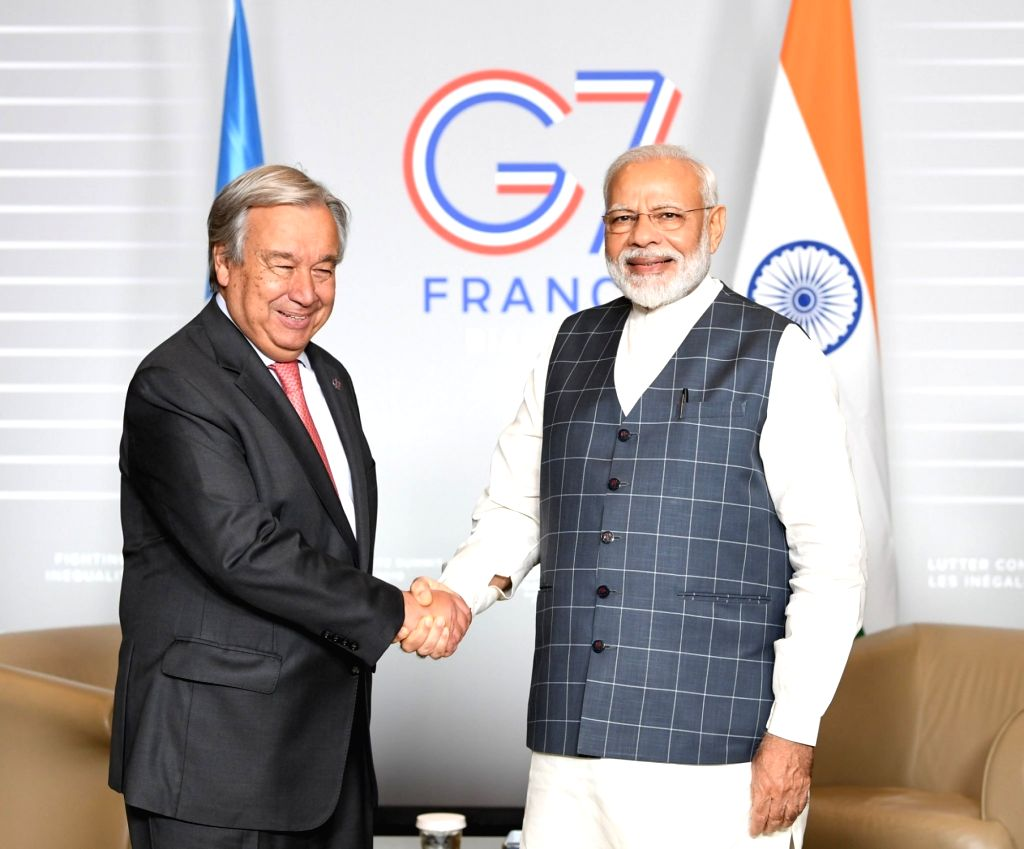 United Nations Secretary-General Antonio Guterres, left, and Prime Minister Narendra Modi at their meeting on Sunday, August 25, 2019, in Biarritz, France, on the sidelines of the G7 summit. - Narendra Modi