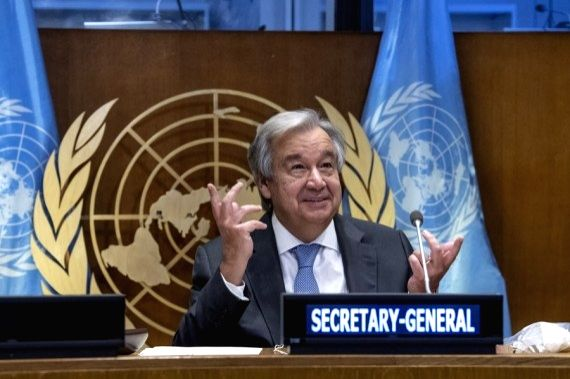United Nations Secretary-General Antonio Guterres addresses the High-Level Meeting on Financing for Development in the Era of COVID-19 and Beyond at the UN headquarters in New York, on Sept. 29, 2020. (Eskinder Debebe/UN Photo/Handout via Xinhua/IANS