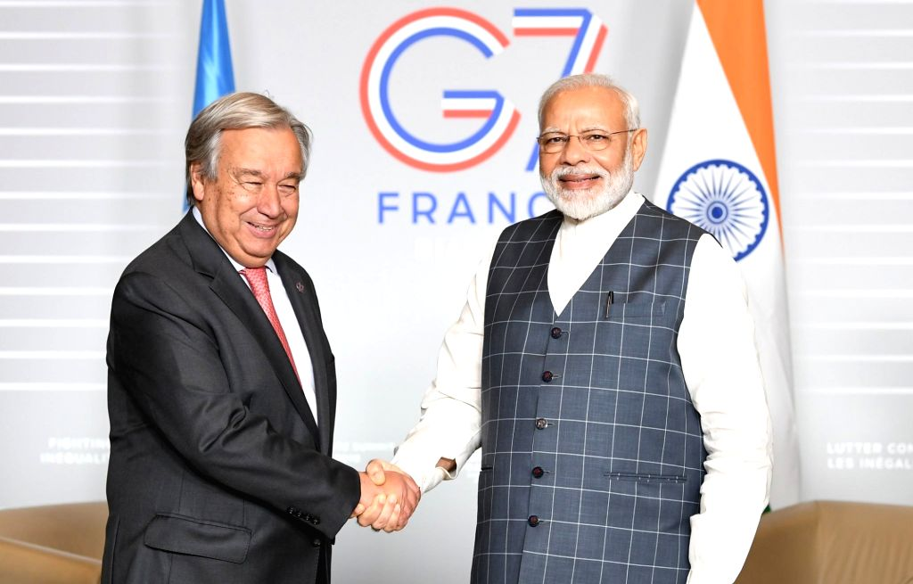 United Nations Secretary-General Antonio Guterres, left, and Prime Minister Narendra Modi at their meeting on Sunday, August 25, 2019, in Biarritz, France, on the sidelines of the G7 summit. (Photo: Modi's Tweet) - Narendra Modi