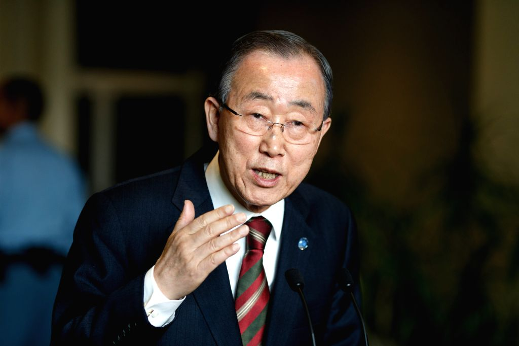 United Nations Secretary-General Ban Ki-moon addresses the press following his briefing to the General Assembly on his priorities for 2016 at the UN headquarters ...
