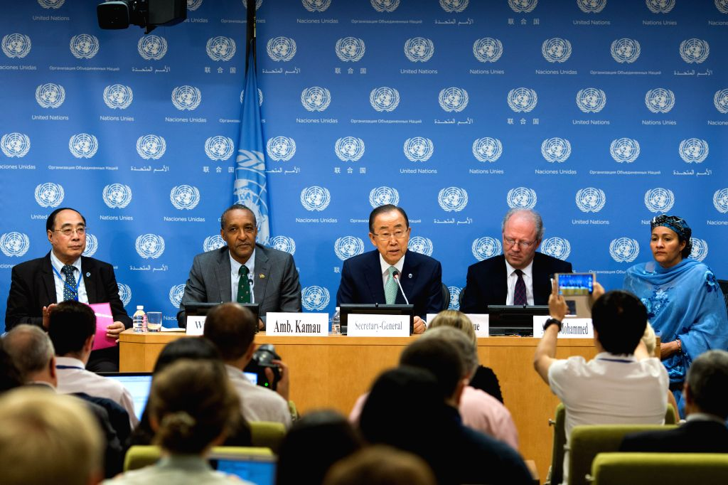 United Nations Secretary-general Ban Ki-moon (C) addresses a press conference on the Outcome Document of the Post-2015 Development Agenda at the UN headquarters in ...
