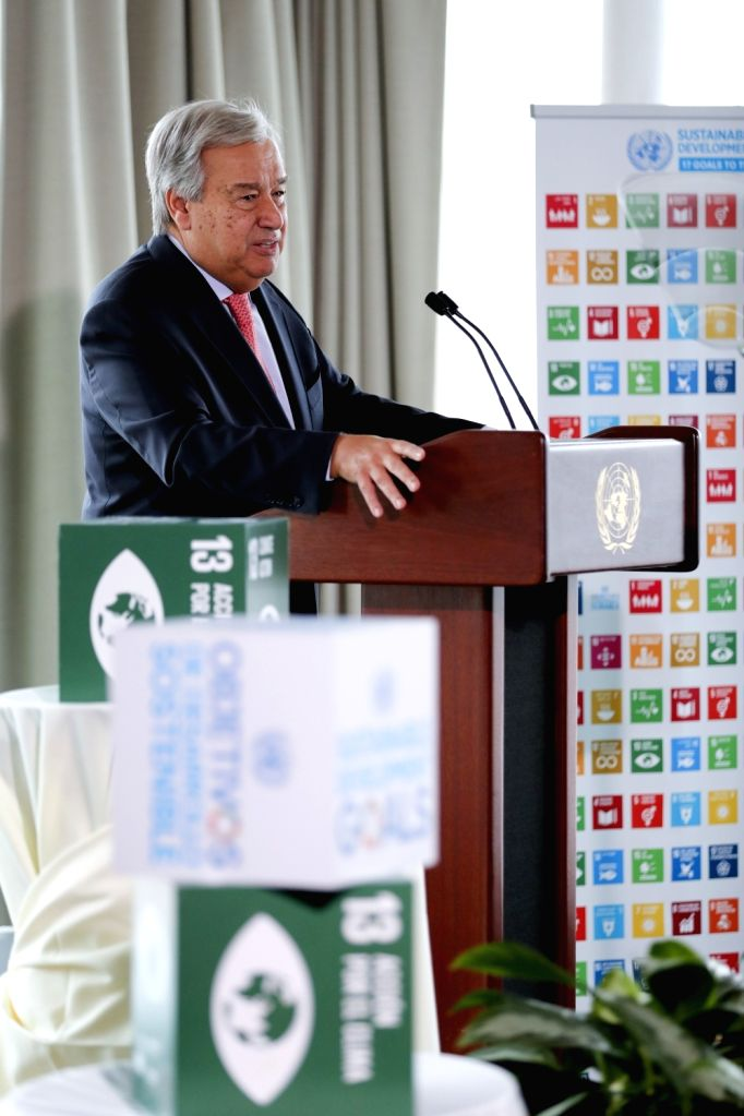UNITED NATIONS, Sept. 10, 2018 - United Nations Secretary-General Antonio Guterres delivers a speech on climate change at the UN headquarters in New York, on Sept. 10, 2018. Antonio Guterres said on ...