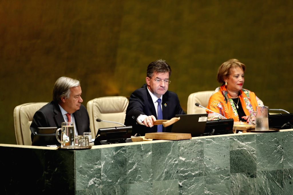 UNITED NATIONS, Sept. 12, 2017 - Miroslav Lajcak (C), President of the 72nd session of the United Nations General Assembly, gavels to open the 72nd session of the UN General Assembly at the UN ...