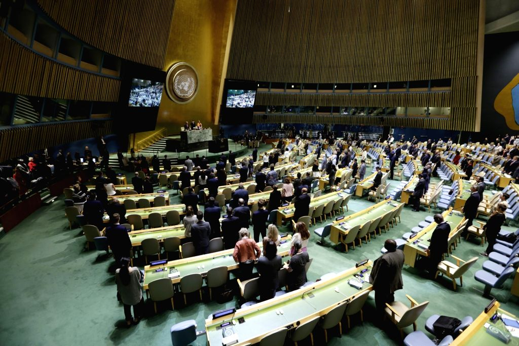 UNITED NATIONS, Sept. 12, 2017 - Photo taken on Sept. 12, 2017, shows the United Nations General Assembly observing one minute of silence during the opening of the 72nd session at the UN headquarters ...