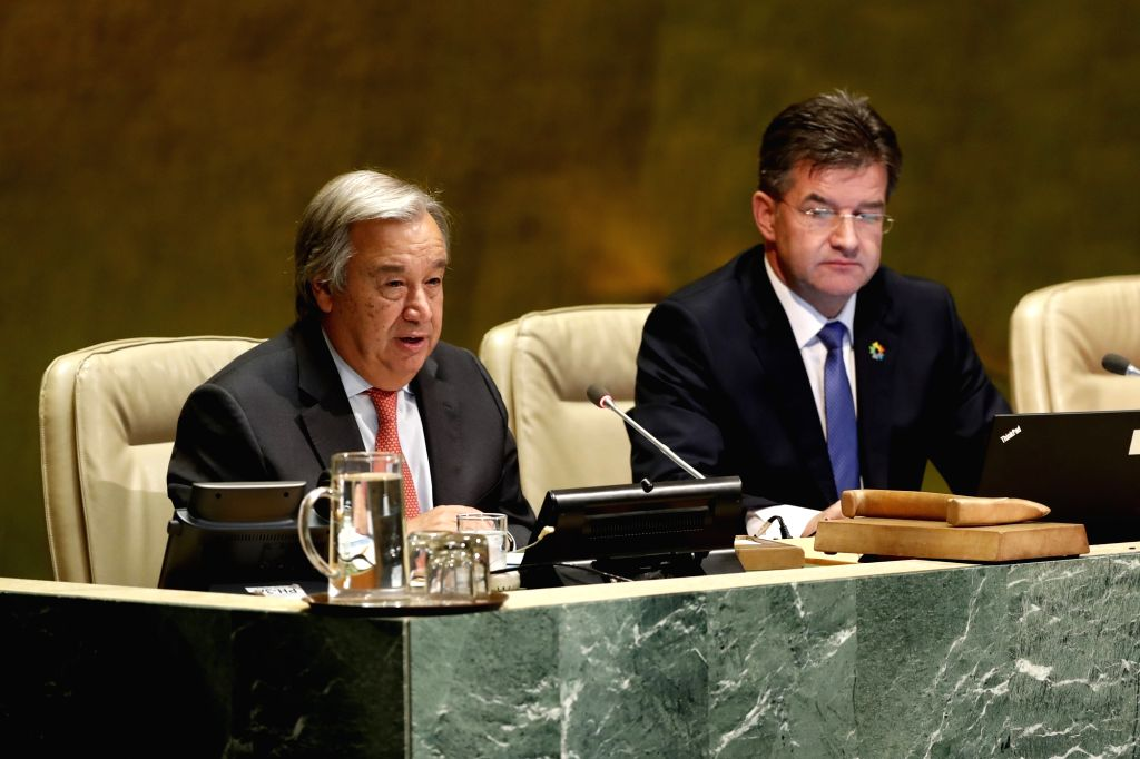 UNITED NATIONS, Sept. 12, 2017 - United Nations Secretary-General Antonio Guterres (L) addresses the opening of the 72nd session of the UN General Assembly at the UN headquarters in New York, Sept. ...