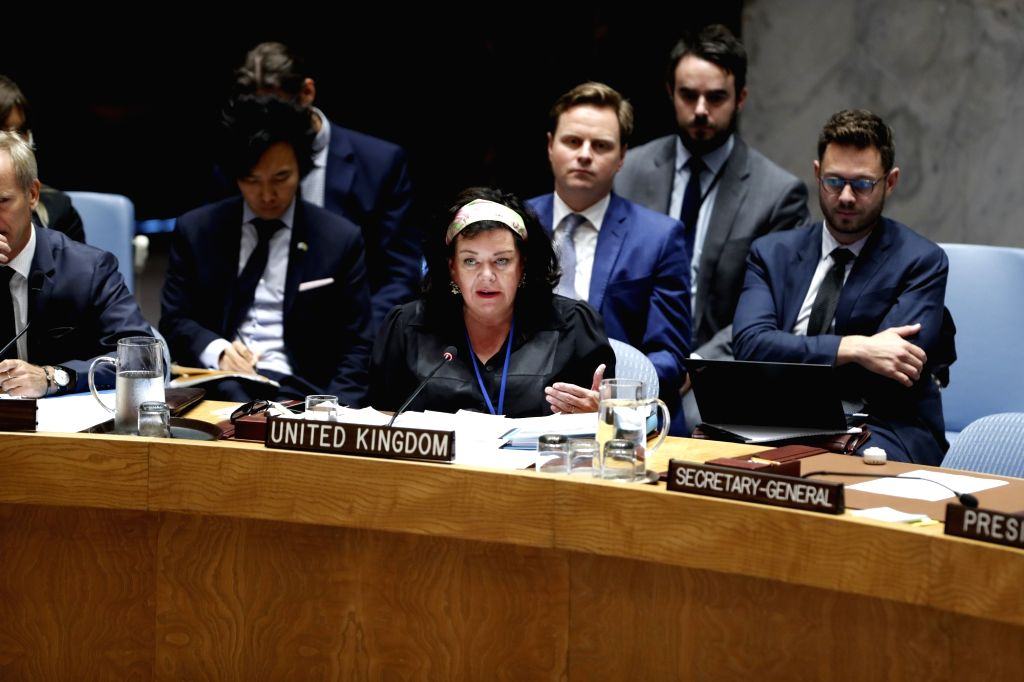 UNITED NATIONS, Sept. 12, 2018 - British ambassador to the United Nations (UN) Karen Pierce (C) speaks at a Security Council meeting on the situation in Syria's Idlib province at the UN headquarters ...