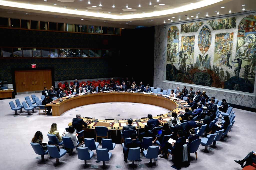 UNITED NATIONS, Sept. 12, 2018 - Photo taken on Sept. 11, 2018 shows a United Nationa (UN)'s Security Council meeting on the situation in Syria's Idlib province at the UN headquarters in New York. As ...