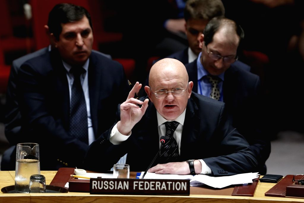 UNITED NATIONS, Sept. 12, 2018 - Russia's ambassador to the United Nations (UN) Vassily Nebenzia (C) speaks at a Security Council meeting on the situation in Syria's Idlib province at the UN ...