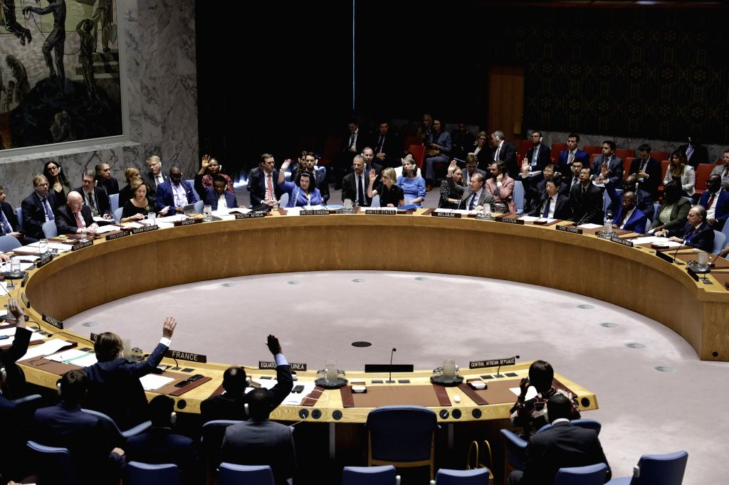 UNITED NATIONS, Sept. 12, 2019 - Photo taken on Sept. 12, 2019 shows that the United Nations Security Council votes on a draft resolution to renew the mandate of the UN Support Mission in Libya ...