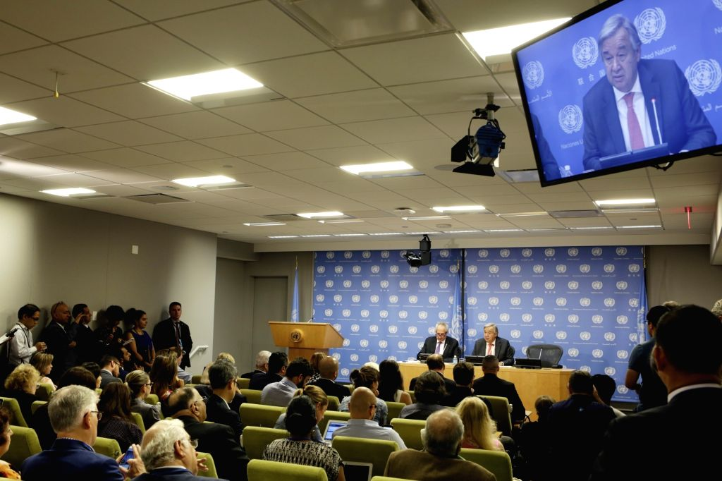 UNITED NATIONS, Sept. 13, 2017 - United Nations Secretary-General Antonio Guterres holds a press conference on the occasion of the 72nd session of the UN General Assembly, at the UN headquarters in ...