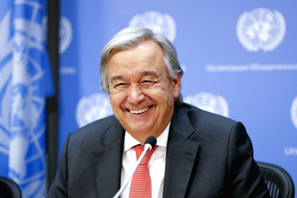 UNITED NATIONS, Sept. 13, 2017 - United Nations Secretary-General Antonio Guterres reacts during a press conference on the occasion of the 72nd session of the UN General Assembly, at the UN ...