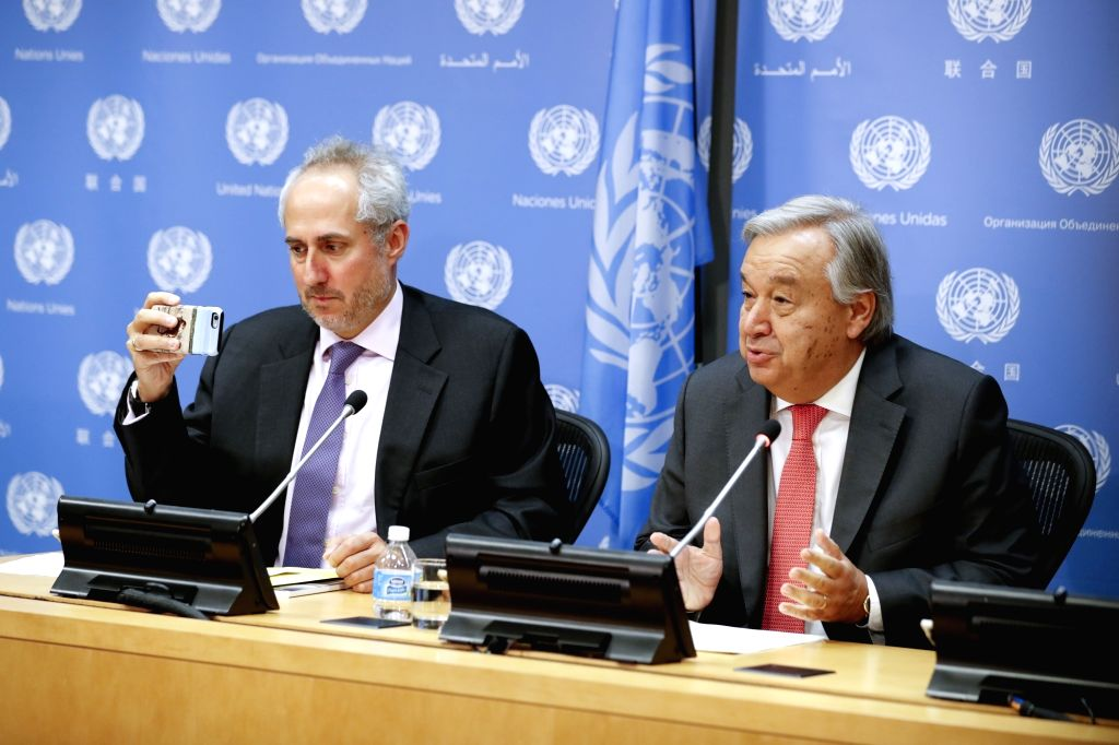UNITED NATIONS, Sept. 13, 2017 - United Nations Secretary-General Antonio Guterres (R) speaks during a press conference on the occasion of the 72nd session of the UN General Assembly, at the UN ...