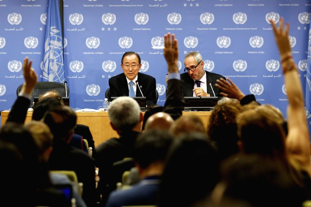 UNITED NATIONS, Sept. 14, 2016 - United Nations Secretary-General Ban Ki-moon (L) holds a press conference on the occasion of the 71st session of the General Assembly at the UN headquarters in New ...
