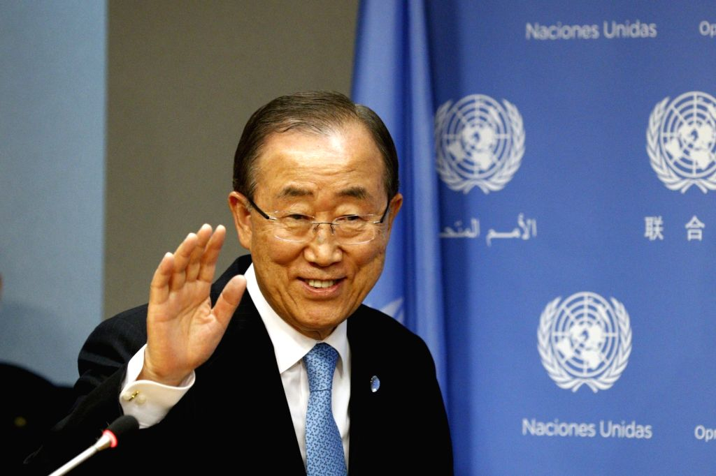 UNITED NATIONS, Sept. 14, 2016 - United Nations Secretary-General Ban Ki-moon arrives for a press conference on the occasion of the 71st session of the General Assembly at the UN headquarters in New ...