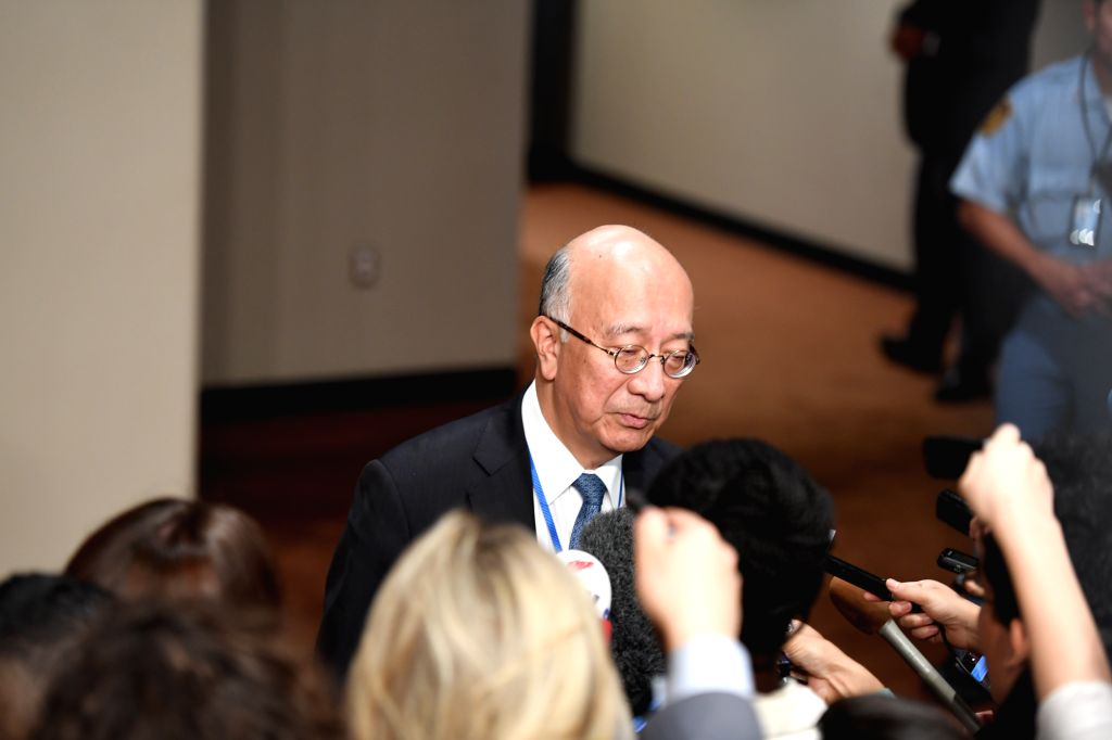 UNITED NATIONS, Sept. 15, 2017 - Koro Bessho, Japanese Ambassador to the United Nations, addresses a press encounter before UN Security Council closed-door consultations at the UN headquarters in New ...