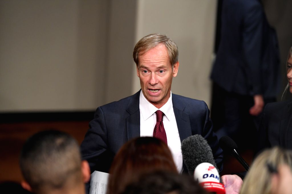 UNITED NATIONS, Sept. 15, 2017 - Olof Skoog, Swedish Ambassador to the United Nations, addresses a press encounter before UN Security Council closed-door consultations at the UN headquarters in New ...