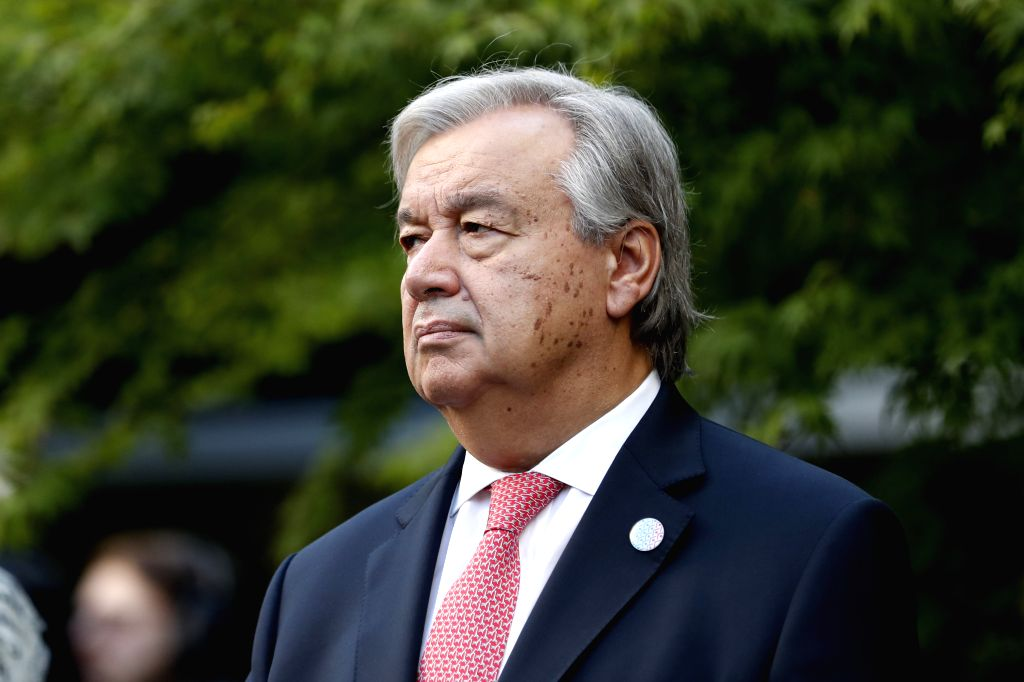 UNITED NATIONS, Sept. 15, 2017 - United Nations Secretary-General Antonio Guterres attends a bell-ringing ceremony at UN headquarters in New York, Sept. 15, 2017. Guterres on Friday highlighted the ...