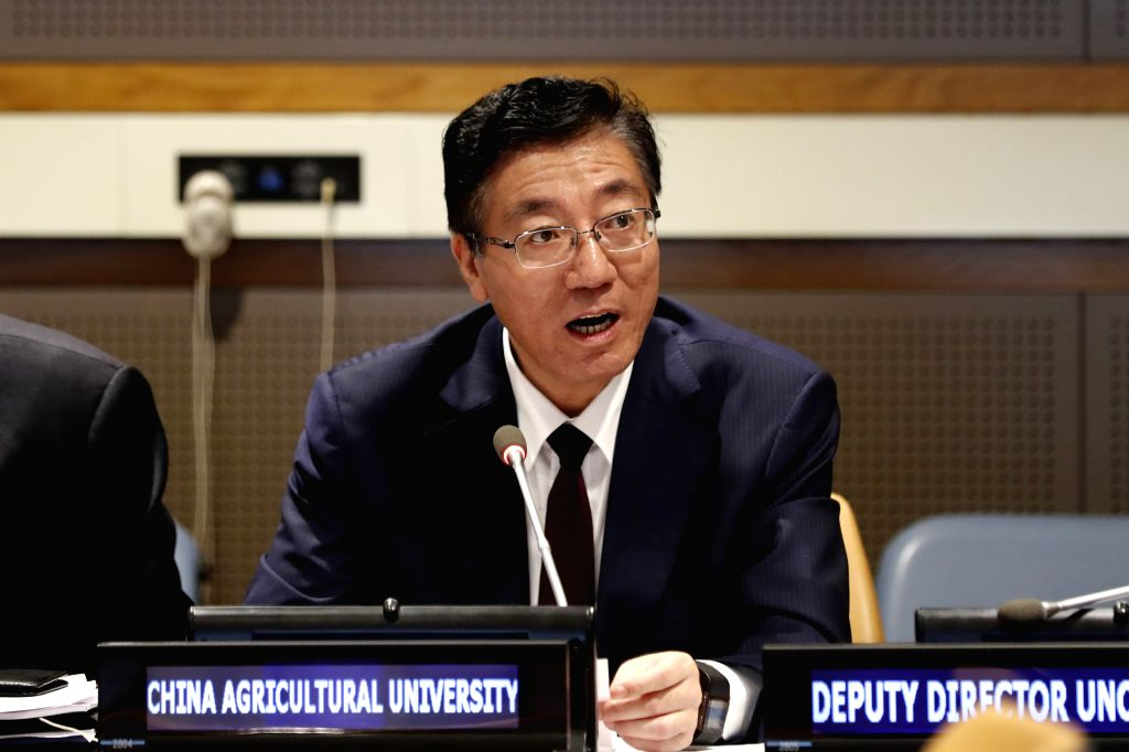 UNITED NATIONS, Sept. 15, 2018 - Sun Qixin, president of China Agricultural University, speaks at Global Thinkers Dialogue: China's South-South Cooperation in Agriculture, at the UN headquarters in ...