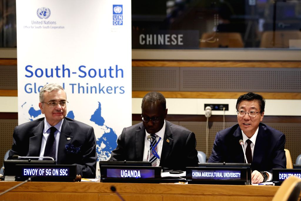 UNITED NATIONS, Sept. 15, 2018 - Sun Qixin (R), president of China Agricultural University, speaks at Global Thinkers Dialogue: China's South-South Cooperation in Agriculture, at the UN headquarters ...