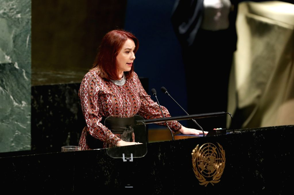 UNITED NATIONS, Sept. 17, 2018 - Maria Fernanda Espinosa Garces takes oath as the President of the 73rd session of the United Nations General Assembly at the UN headquarters, in New York, Sept. 17, ...