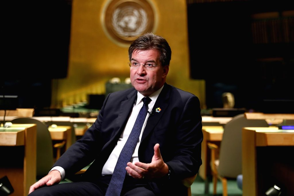 UNITED NATIONS, Sept. 17, 2018 - Miroslav Lajcak, President of the 72nd session of the United Nations General Assembly, speaks during an interview with Xinhua at the UN headquarters in New York, ...