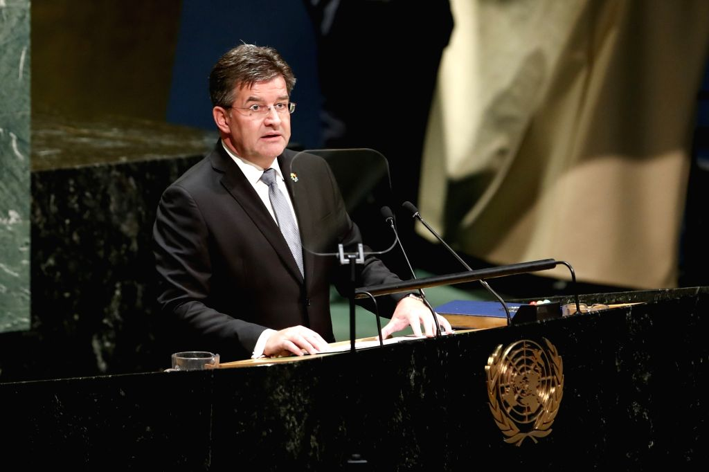 UNITED NATIONS, Sept. 17, 2018 - Miroslav Lajcak, President of the 72nd session of the United Nations General Assembly, delivers a speech at the last meeting of the 72nd session of the assembly, at ...