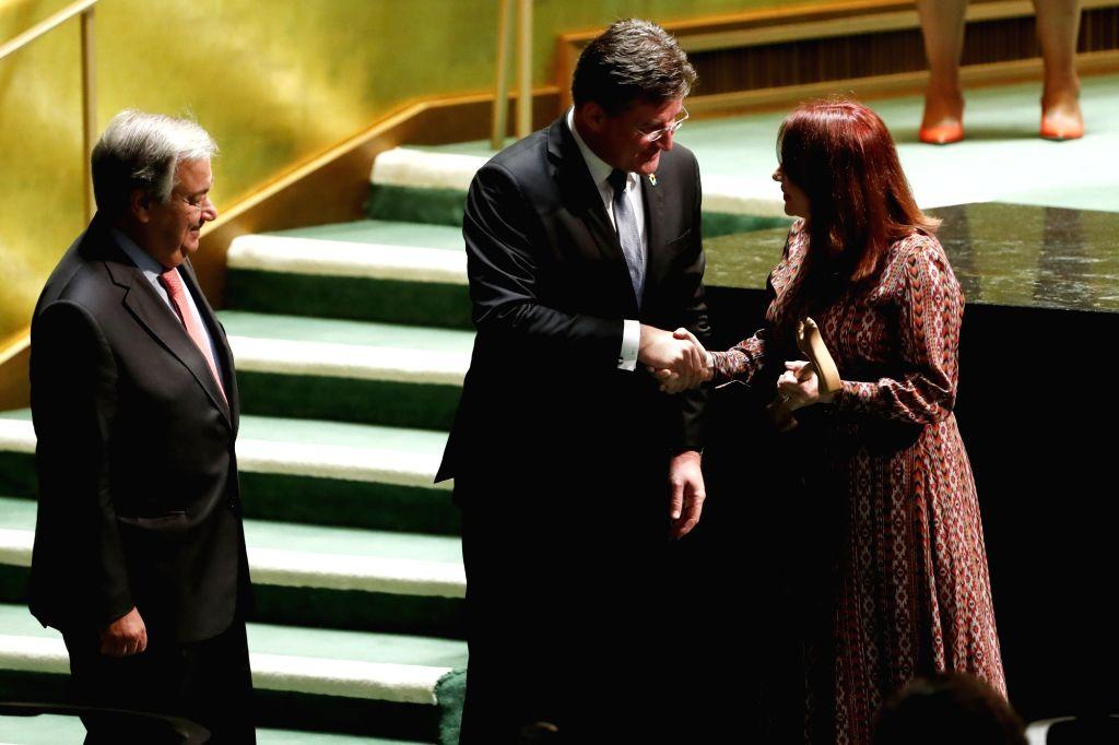 UNITED NATIONS, Sept. 17, 2018 - Miroslav Lajcak (C), President of the 72nd session of the United Nations General Assembly (UNGA), passes the gavel onto Maria Fernanda Espinosa Garces (R), President ...