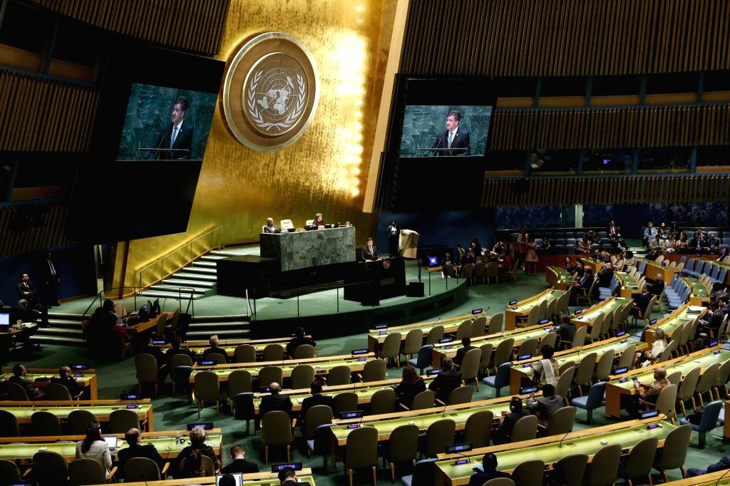 UNITED NATIONS, Sept. 17, 2018 - Photo taken on Sept. 17, 2018 shows the last meeting of the 72nd session of the United Nations General Assembly, at the UN headquarters in New York. Outgoing UN ...