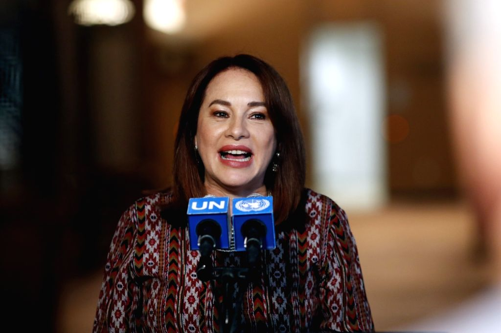 UNITED NATIONS, Sept. 17, 2018 - President of the 73rd session of the United Nations General Assembly Maria Fernanda Espinosa Garces speaks to the media at the UN headquarters, in New York, Sept. 17, ...