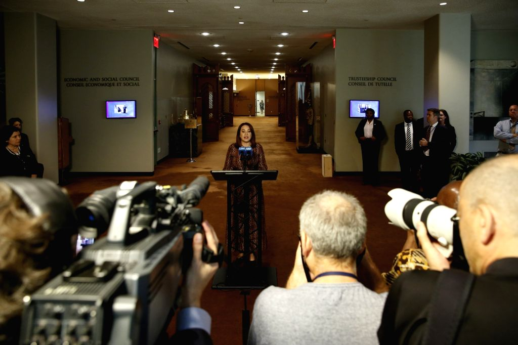 UNITED NATIONS, Sept. 17, 2018 - President of the 73rd session of the United Nations General Assembly Maria Fernanda Espinosa Garces (C) speaks to the media at the UN headquarters, in New York, Sept. ...