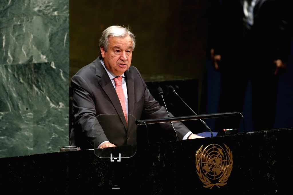 UNITED NATIONS, Sept. 17, 2018 - United Nations Secretary-General Antonio Guterres addresses the last meeting of the 72nd session of the United Nations General Assembly, at the UN headquarters in New ...