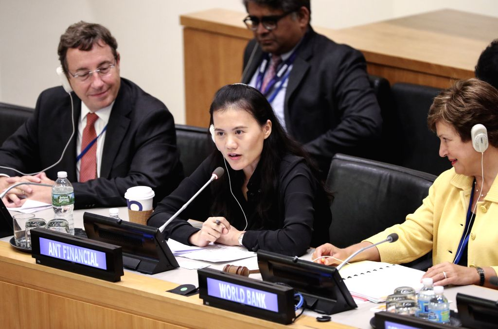 "UNITED NATIONS, Sept. 18, 2017 - Lucy Peng (C), the executive chair of Ant Financial, an affiliate of China's e-commerce giant Alibaba Group, speaks at a meeting on ""The Role of the United ..."