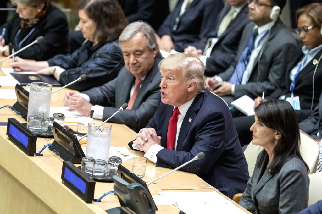 UNITED NATIONS, Sept. 18, 2017 - U.S. President Donald Trump speaks at a high-level UN reform meeting at the UN headquarters in New York, Sept. 18, 2017.