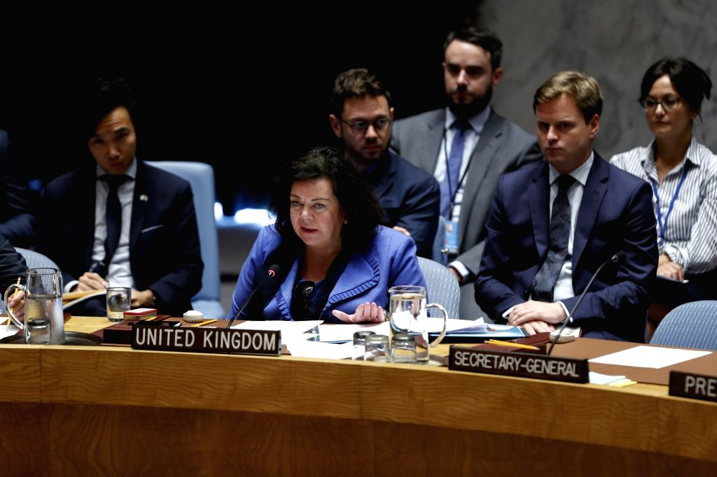 UNITED NATIONS, Sept. 18, 2018 - British Ambassador to the United Nations Karen Pierce (C, Front) addresses a Security Council meeting on the situation in Syria at the UN headquarters in New York, ...
