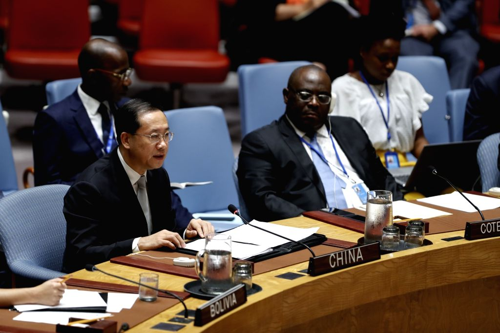 UNITED NATIONS, Sept. 18, 2018 - China's Permanent Representative to the United Nations Ma Zhaoxu (L, Front) addresses a Security Council meeting on the situation in Syria at the UN headquarters in ...