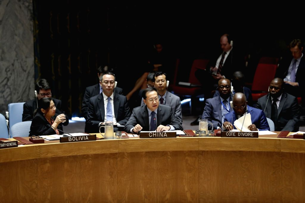UNITED NATIONS, Sept. 18, 2018 - Chinese Permanent Representative to the United Nations Ma Zhaoxu (C) addresses a meeting of the UN Security Council on non-proliferation of the Democratic People's ...