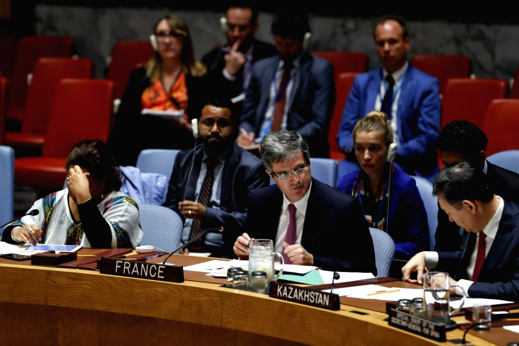UNITED NATIONS, Sept. 18, 2018 - French Ambassador to the United Nations Francois Delattre (C, front) addresses a Security Council meeting on the situation in Syria at the UN headquarters in New ...