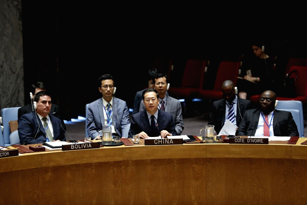 UNITED NATIONS, Sept. 18, 2018 - Ma Zhaoxu (C, Front), Chinese permanent representative to the United Nations, addresses the Security Council meeting on the situation in Afghanistan at the UN ...