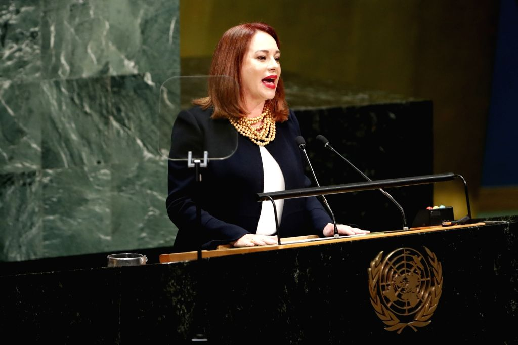 UNITED NATIONS, Sept. 18, 2018 - Maria Fernanda Espinosa Garces (C), President of the 73rd session of the United Nations General Assembly, speaks during the opening of the 73rd session of the UN ...